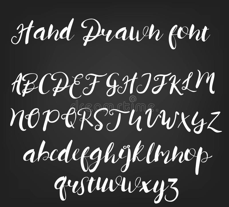 Vector hand drawn calligraphic font. Handmade calligraphy tattoo alphabet. ABC.English lettering, lowercase, uppercase stock illustration