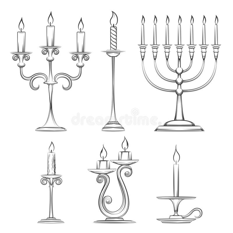 Vector hand drawn candlesticks stock illustration