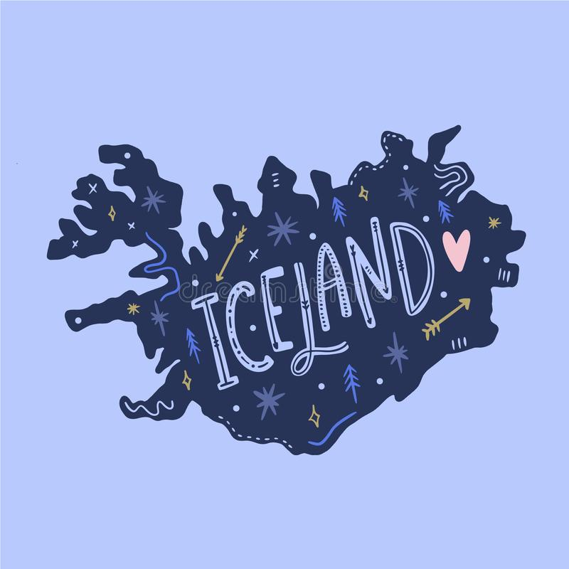 Vector hand drawn cartoon doodle map of Iceland. Illustration with details royalty free illustration