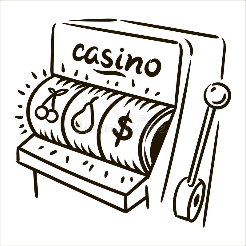 Vector hand drawn casino simple sketch illustration on white background. vector illustration