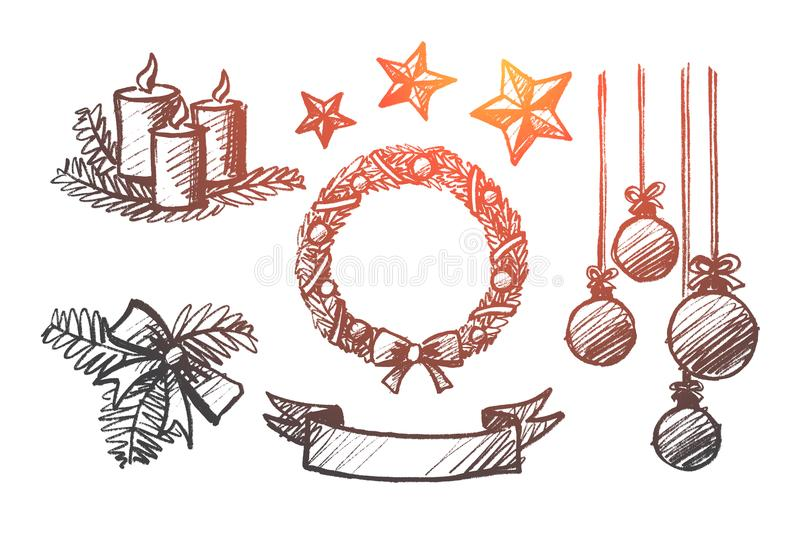 Hand drawn set of Christmas decoration elements. Vector hand drawn Christmas concept sketch. Holiday candles, ribbons, hanging balls, decoration stars, ornate stock illustration
