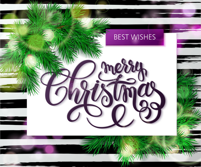 Vector hand drawn christmas lettering greetings text -merry christmas - with spruce christmas brunch and bulb garland on stock illustration