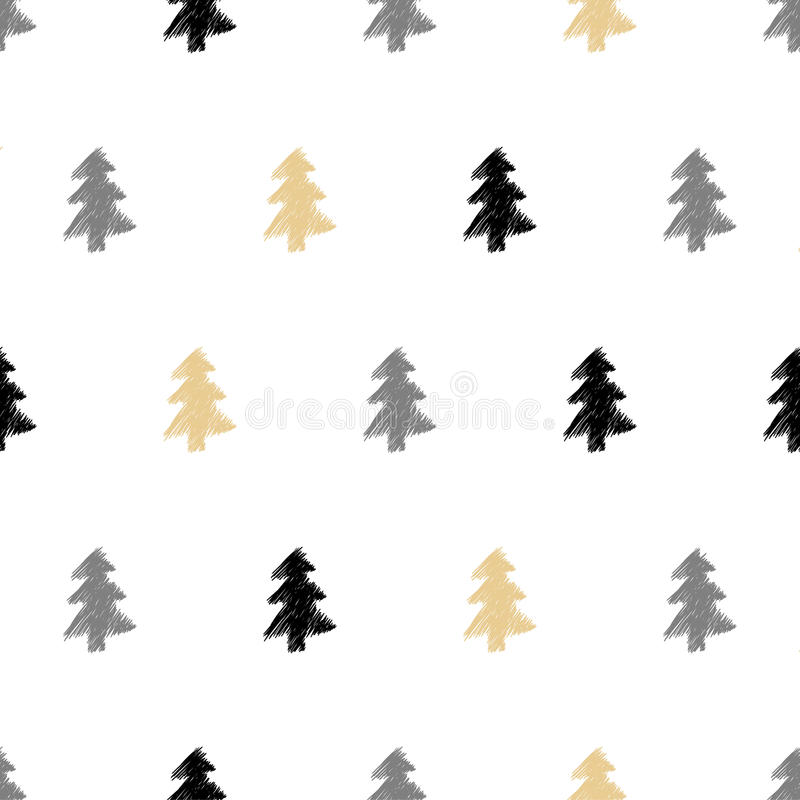 Vector hand drawn Christmas tree, fir seamless pattern in ethnic royalty free illustration