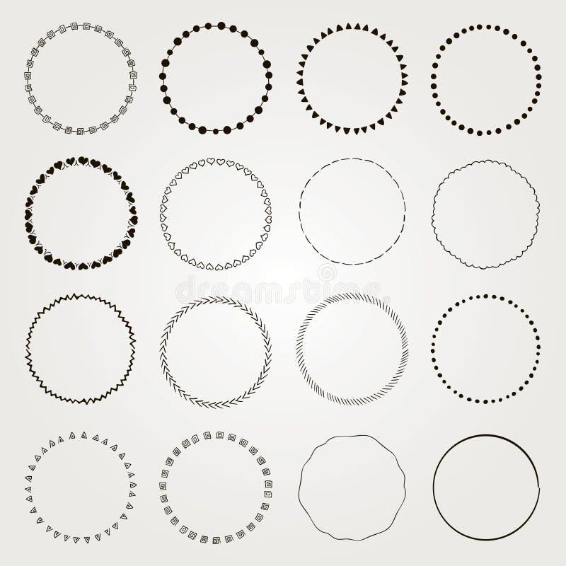 Download Vector Hand Drawn Circle Logo And Badge Elements Set Stock