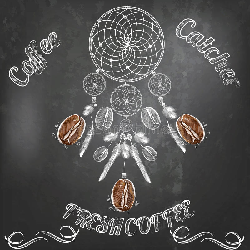 Vector hand drawn coffee poster on blackboard royalty free illustration