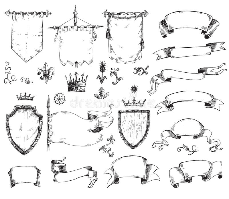 Vector Hand Drawn Collection Of Heraldic Templates Shield Flag - Engraving templates