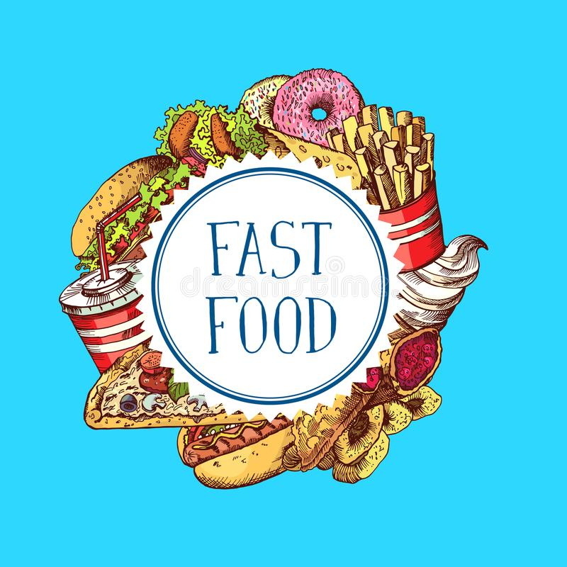 Vector hand drawn colored fast food elements gathered under circle illustration stock illustration