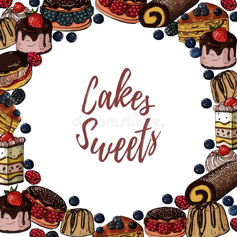 Vector hand drawn colored banner with sweets cakes, background with circle illustration. Vector hand drawn colored template banner with sweets cakes, background vector illustration