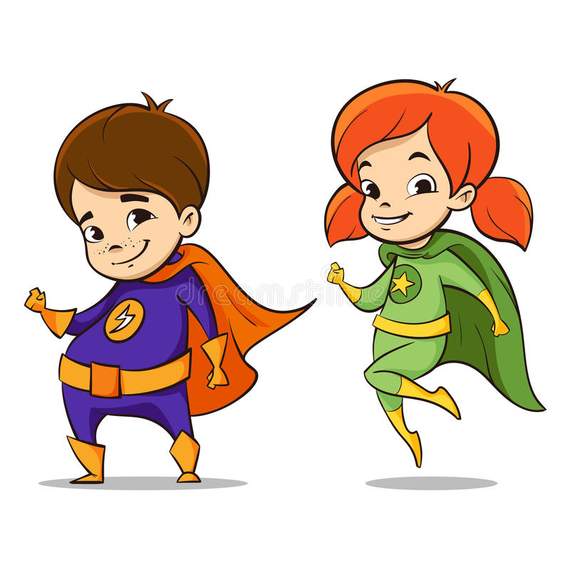 Vector hand drawn colorful illustration of two happy super hero kid. S characters stock illustration