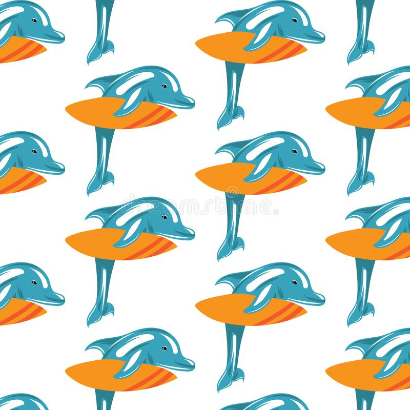 Vector hand drawn colorful pattern with illustration of dolphin with surf. royalty free illustration