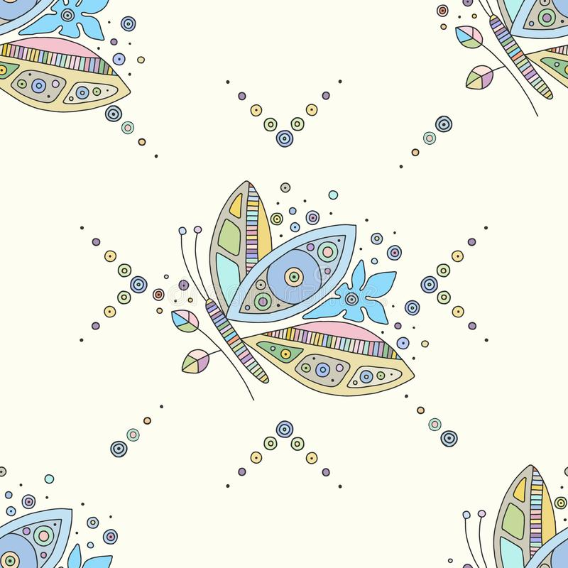 Vector hand drawn colorful seamless pattern, illustration of butterfly with decorative geometrical elements, lines, dots. Line. Drawing. Graphic design vector illustration