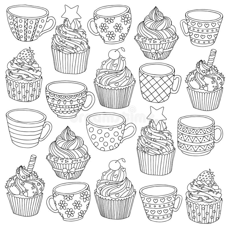 Vector hand drawn cup cupcake illustration for adult coloring book. Freehand sketch for adult anti stress coloring book vector illustration
