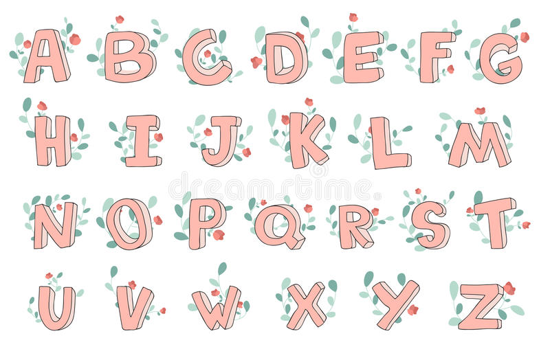 Vector hand-drawn cute alphabet with floral decoration, font, letters. 3D doodle ABC for kids. stock illustration