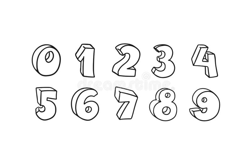 Vector hand drawn 3D line art numbers set. Signs as sketched art, ouline font. Latin alphabet numbers from 1 to 0. Isolated royalty free illustration