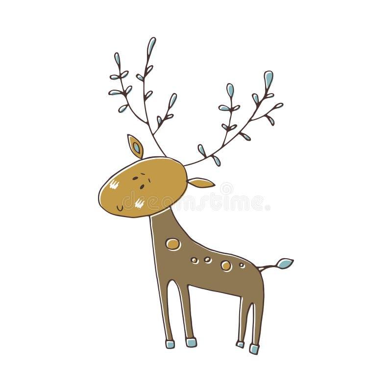 Vector hand drawn deer royalty free illustration