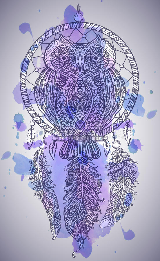 Vector hand drawn Detailed ornate Owl with dream catcher vector illustration