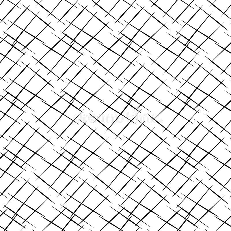 Vector hand drawn diagonal scribbled grunge lines in criss cross design. Seamless texture weave pattern background. Abstract black and white geometric grid royalty free illustration