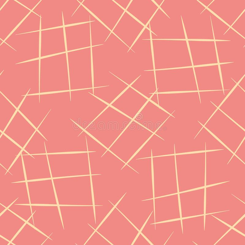 Vector hand drawn diagonal scribbled individual grunge grid rectangles.. Seamless pattern background with abstract hand. Drawn crisscross motifs. Backdrop with royalty free illustration