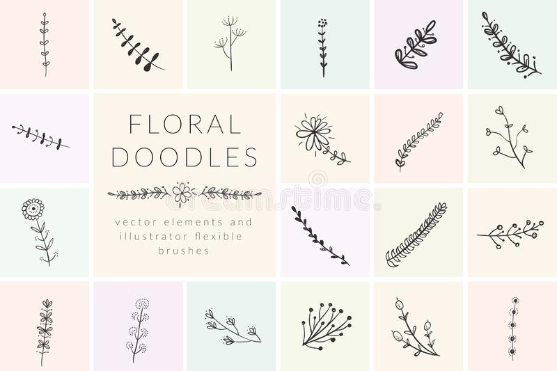 Vector Hand Drawn Doodle florals and plants vector illustration