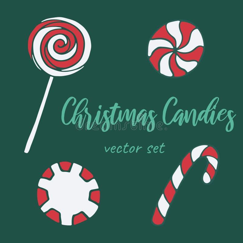 Vector hand drawn doodle illustration of sweet candies set vector illustration