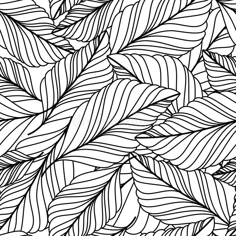 Vector hand drawn doodle leaves seamless pattern. Abstract autumn. Black and white background. Nature organic line illustration