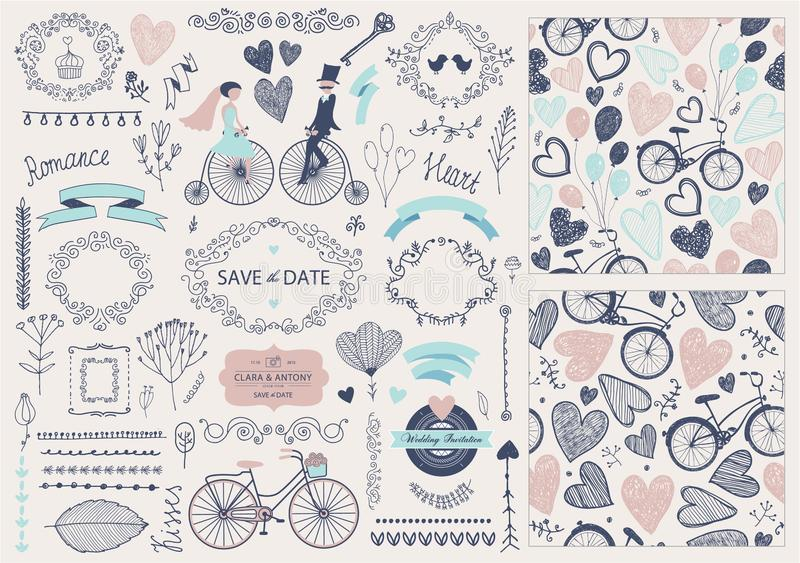 Vector Hand drawn doodle Love collection, illustration Sketchy icons. set for Valentine`s day, wedding, romantic events royalty free illustration