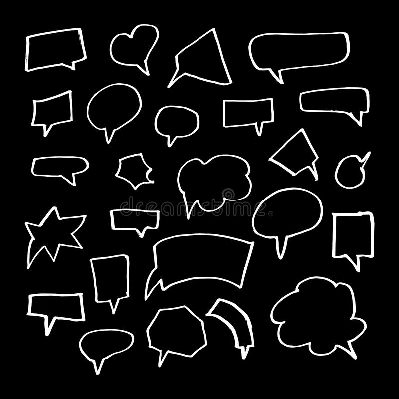 Hand Drawn Doodle Style Set Of Speech Bubbles vector illustration