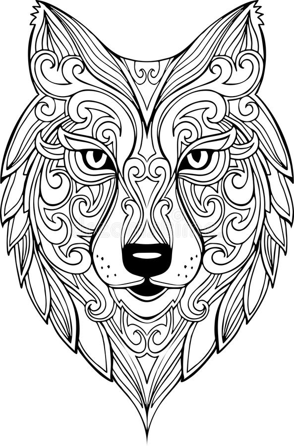 vector doodle wolf illustration stock