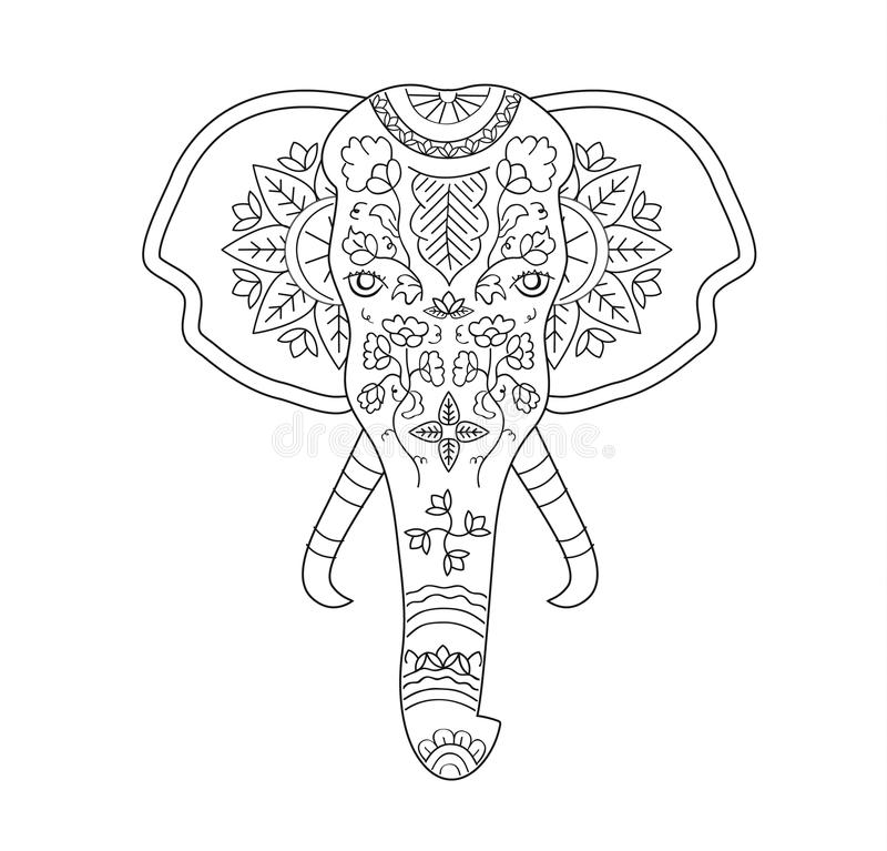 Vector Hand Drawn Elephant With Indian Tradition Pattern On The Skin ...