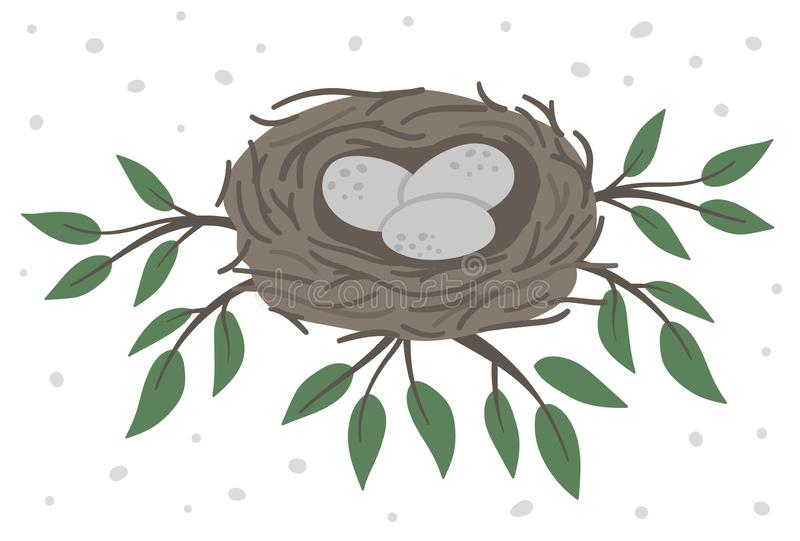 Vector hand drawn flat bird's nest with eggs on the tree branches with green leaves. Cute forest ornithological illustration for vector illustration