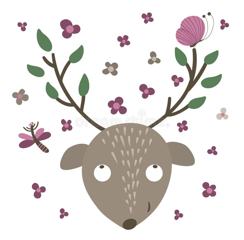 Vector hand drawn flat deer muzzle with big antlers, flowers, butterfly. Funny scene with woodland animal. Cute forest animalistic stock illustration