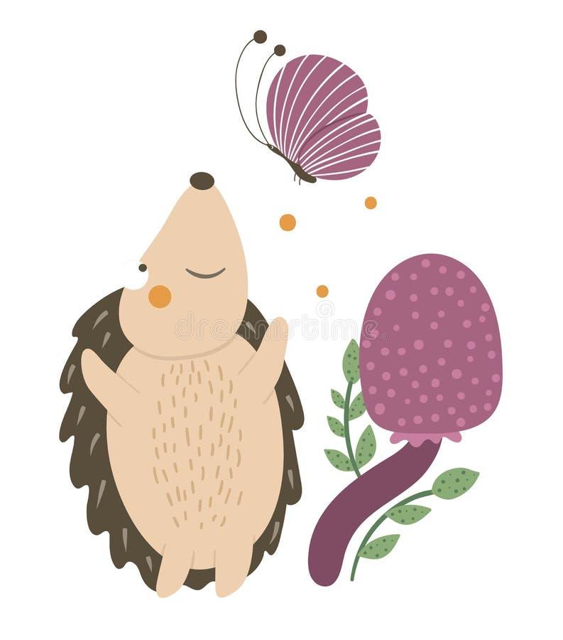 Free Vector Hand Drawn Flat Hedgehog Catching A Butterfly Near Purple Mushroom. Royalty Free Stock Photos - 158039598