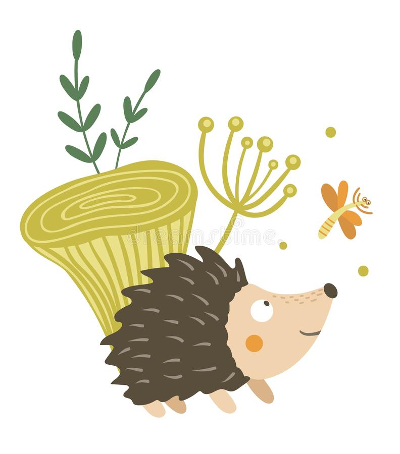Vector hand drawn flat hedgehog with mushroom and dragonfly clip art. Funny autumn scene with prickly animal having fun. Cute royalty free illustration
