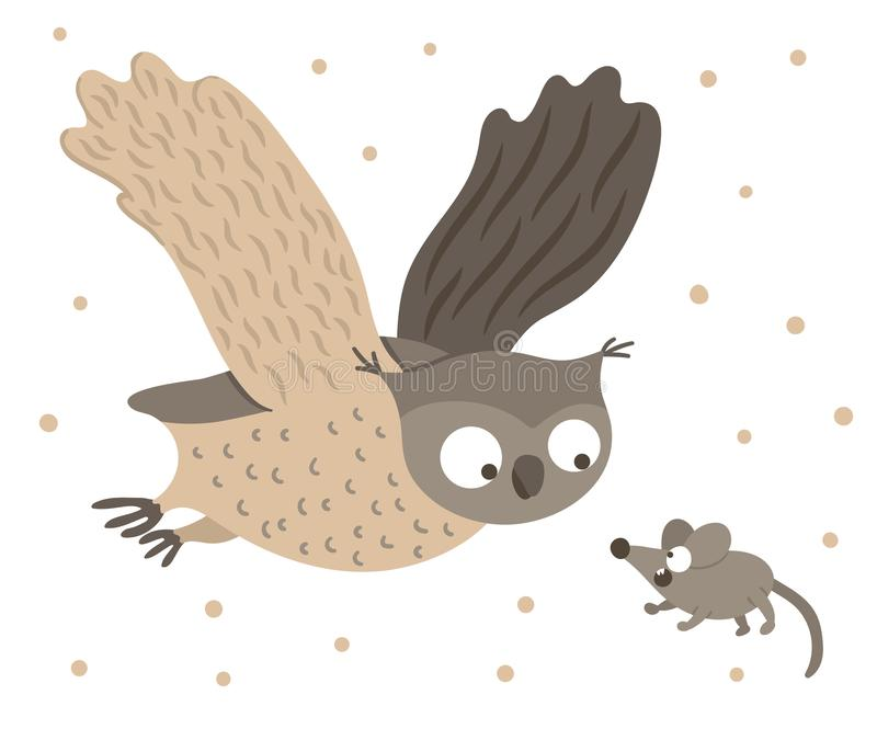 Vector hand drawn flat owl flying with spread wings for scared mouse. Funny hunt scene with woodland bird. Cute forest animalistic. Illustration for children' royalty free illustration
