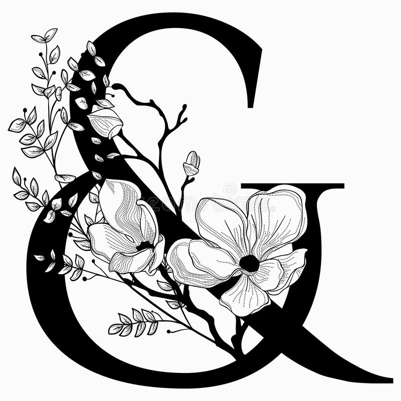 Vector Hand Drawn floral Ampersand monogram and logo stock illustration