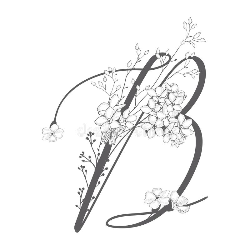 Vector Hand Drawn floral B monogram and logo stock illustration