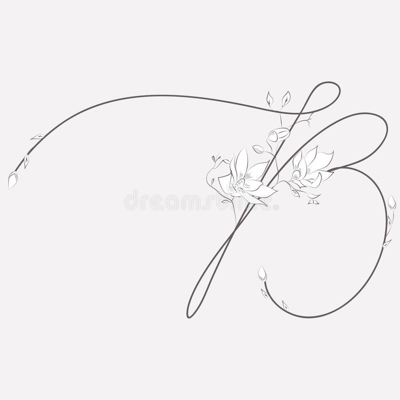 Vector Hand Drawn floral B monogram and logo royalty free illustration