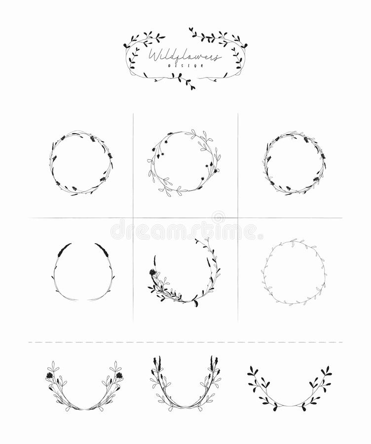 Vector Hand Drawn Floral Frames Wreaths Branches vector illustration