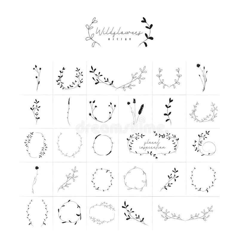 Vector Hand Drawn Floral Frames Wreaths Branches royalty free illustration