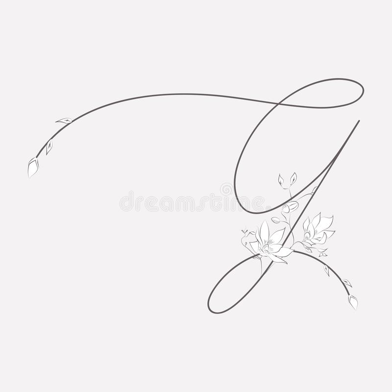 Vector Hand Drawn floral G monogram and logo royalty free illustration