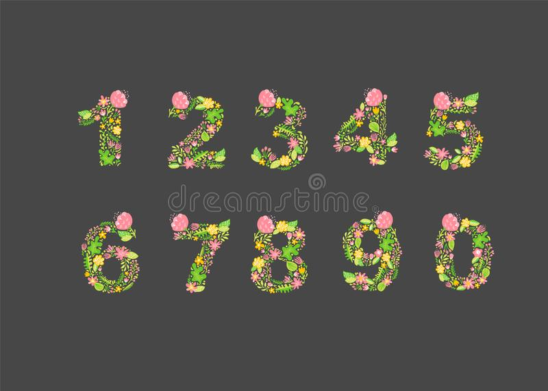 Vector Hand Drawn floral numbers monograms or logo. Uppercase numbers from 1 to 0 with Flowers and Branches Blossom vector illustration