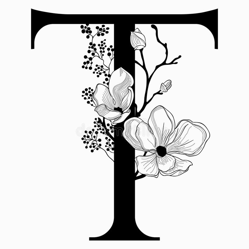 Vector Hand Drawn Floral Uppercase T Monogram And Logo