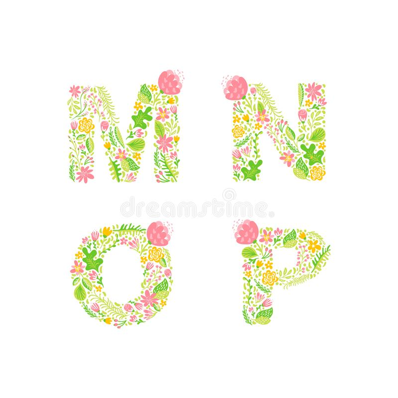Vector Hand Drawn floral uppercase letter monograms or logo. Uppercase Letters M, N, O, P with Flowers and Branches Blossom. vector illustration