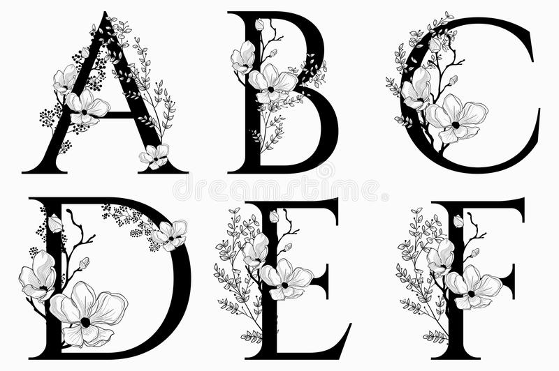 Vector Hand Drawn floral uppercase letters monograms royalty free illustration