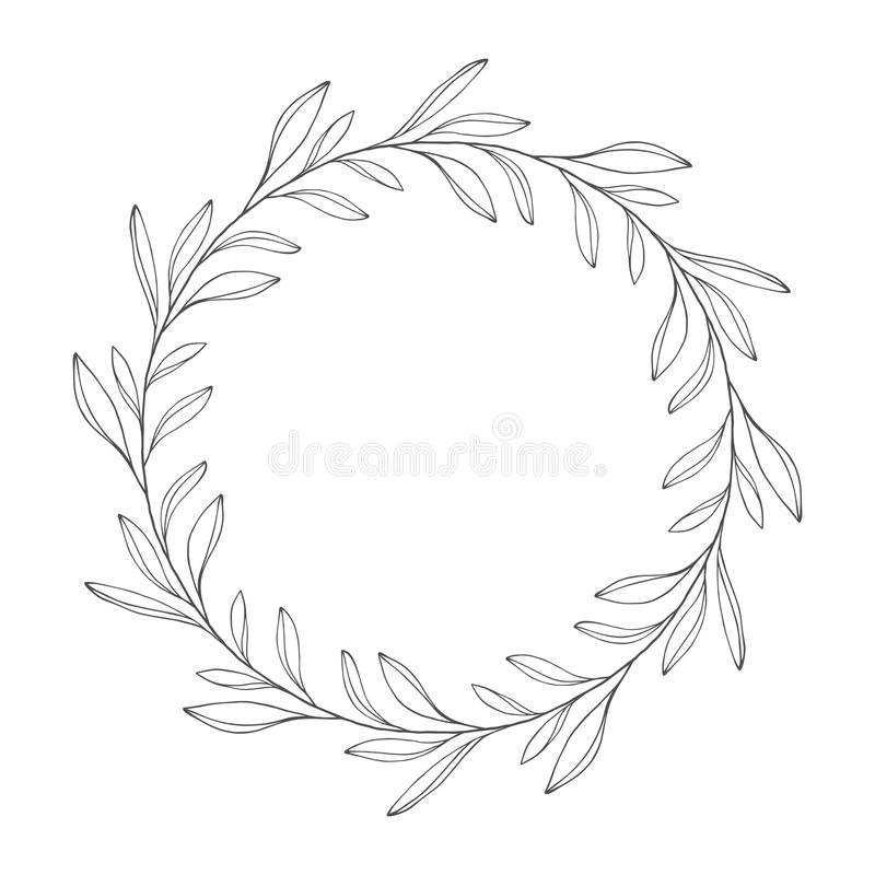 Vector hand drawn floral wreath, round frame with leaves. Decorative design element, illustration royalty free illustration
