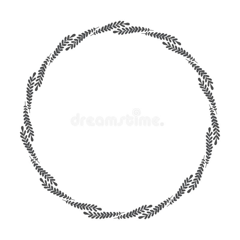 Vector hand drawn floral wreath, round frame with leaves. Decorative design element, illustration vector illustration