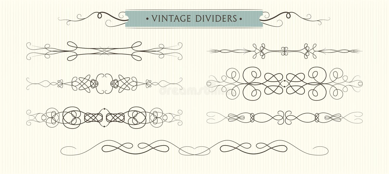 Vector hand drawn flourishes, dividers, graphic High quality de stock illustration