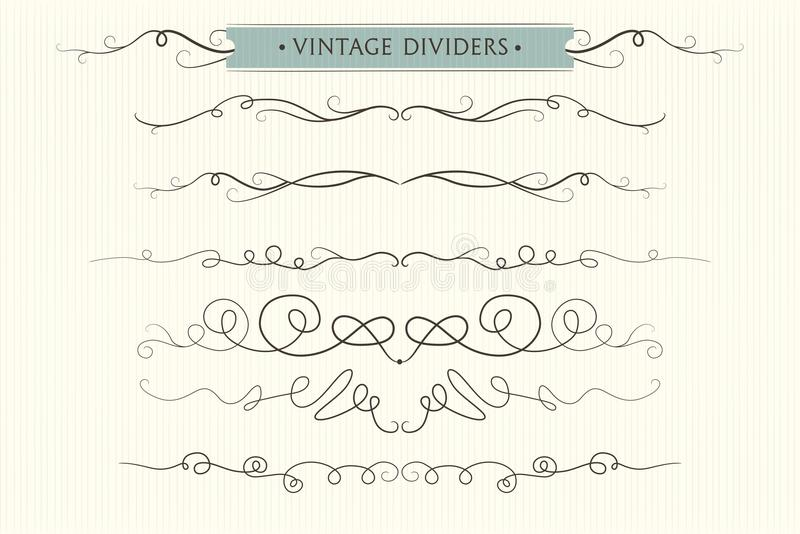 Vector hand drawn flourishes, dividers, graphic lovely design element set. Cute vintage borders. Wedding invitation cards, page d vector illustration