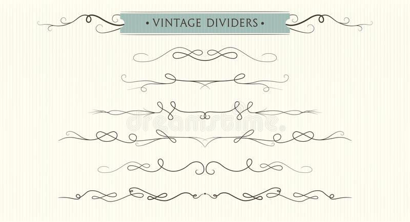 Vector hand drawn flourishes, dividers, graphic lovely design element set. Cute vintage borders. Wedding invitation cards, page d. Ecoration. Calligraphy stock illustration
