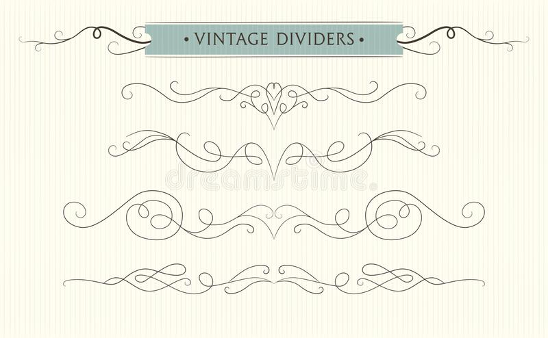 Vector hand drawn flourishes, text divider, graphic design element collection. Designer art vintage border Wedding invitation car vector illustration